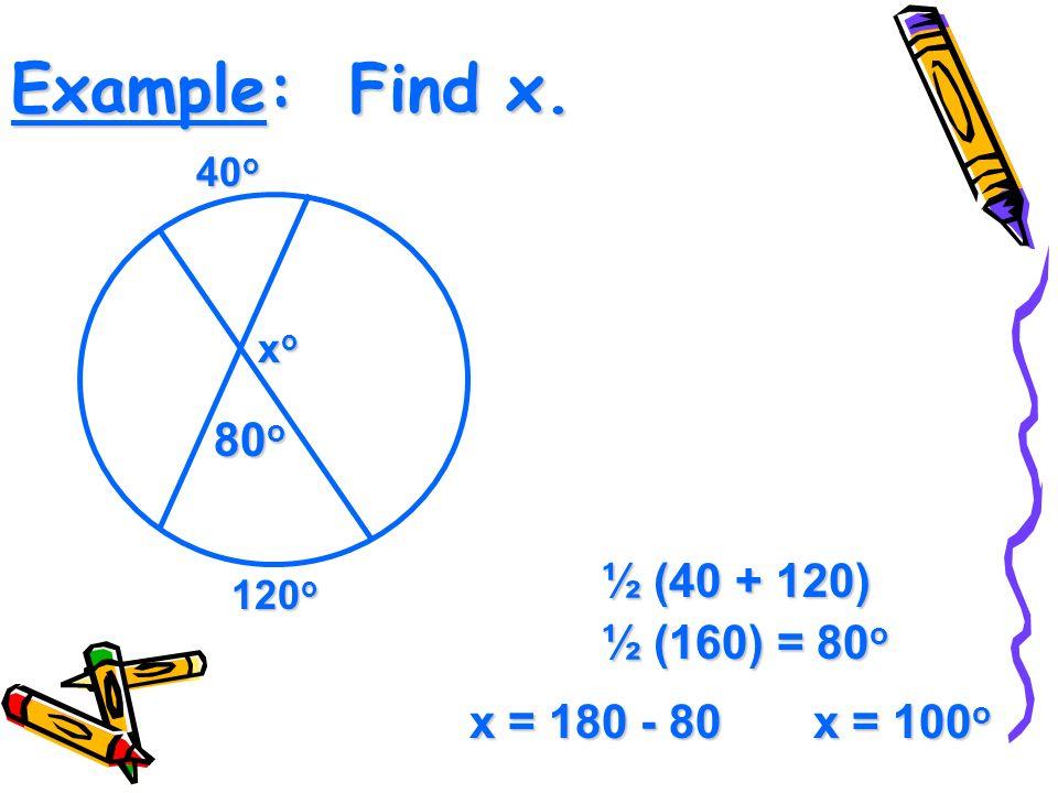 Example: Find x. 40 o 120 o xoxoxoxo ½ (40 + 120) ½ (160) = 80 o 80 o x = 180 - 80 x = 100 o