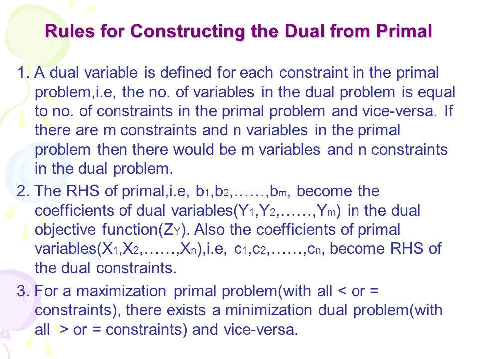 Rules for Constructing the Dual from Primal 1. A dual variable is defined for each constraint in the primal problem,i.e, the no. of variables in the d