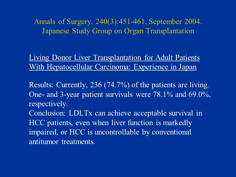 Annals of Surgery. 240(3):451-461, September 2004. Japanese Study Group on Organ Transplantation Living Donor Liver Transplantation for Adult Patients