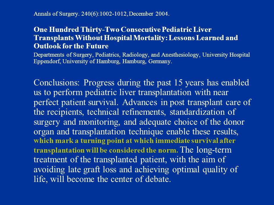 Annals of Surgery.240(6):1002-1012, December 2004.