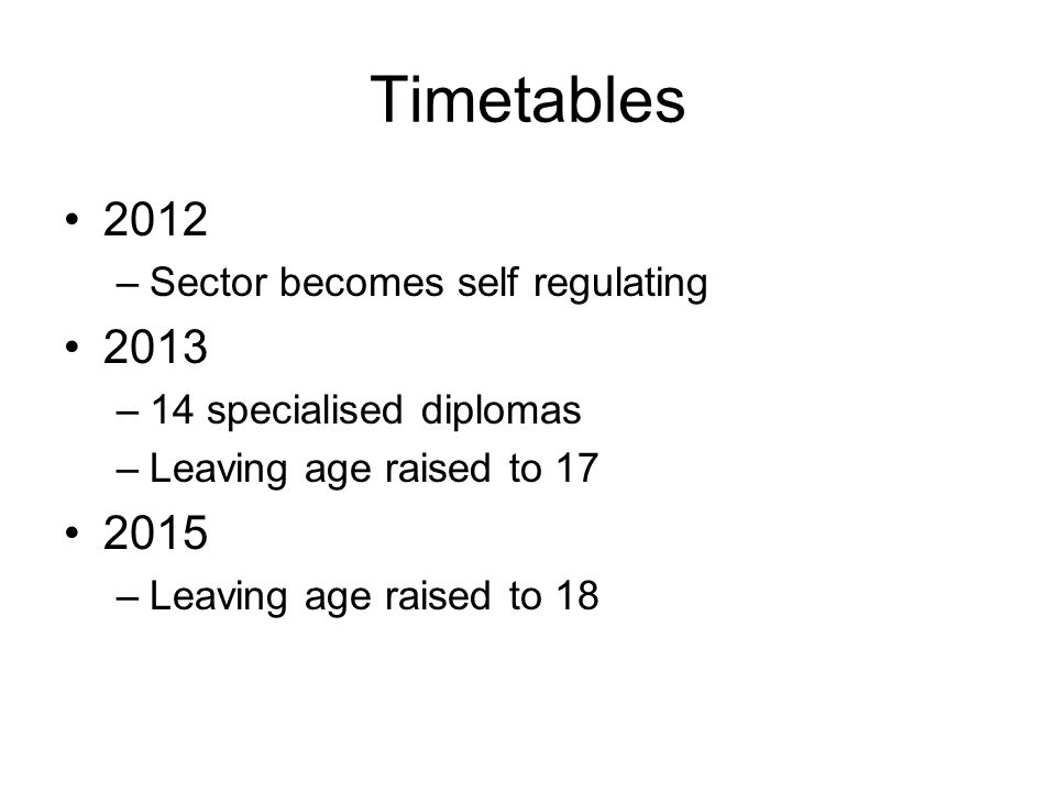 Timetables 2012 –Sector becomes self regulating 2013 –14 specialised diplomas –Leaving age raised to 17 2015 –Leaving age raised to 18
