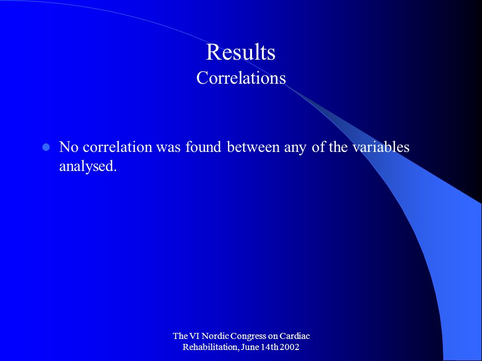 The VI Nordic Congress on Cardiac Rehabilitation, June 14th 2002 Results Correlations No correlation was found between any of the variables analysed.