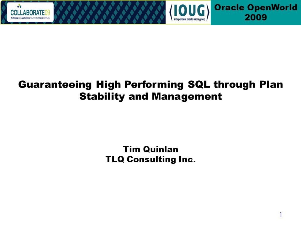 1 Oracle OpenWorld 2009 Tim Quinlan TLQ Consulting Inc.