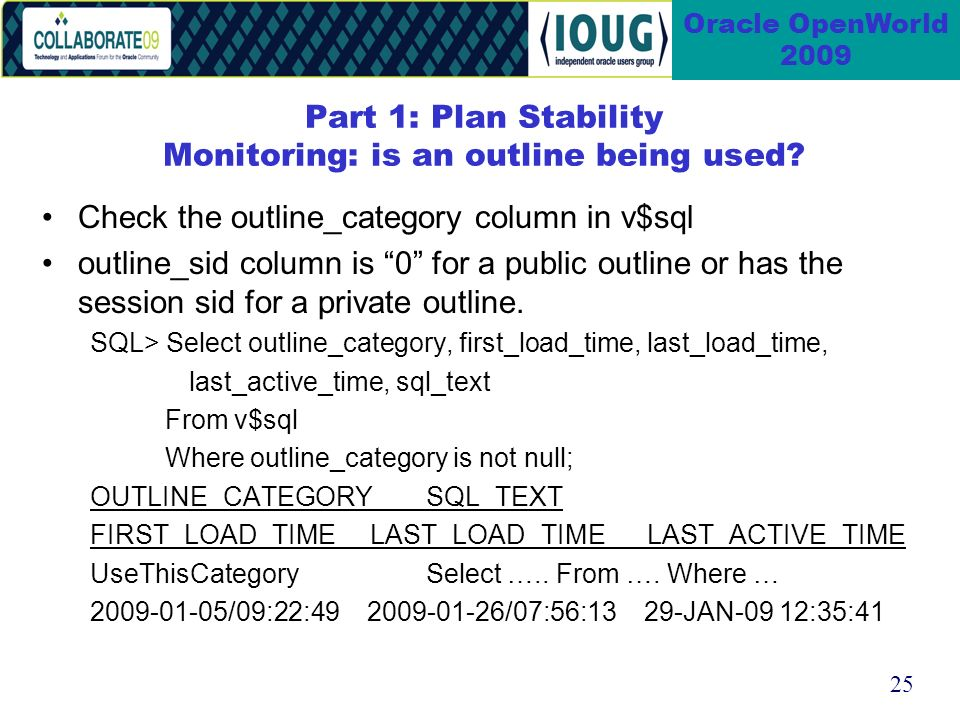 25 Oracle OpenWorld 2009 Part 1: Plan Stability Monitoring: is an outline being used.
