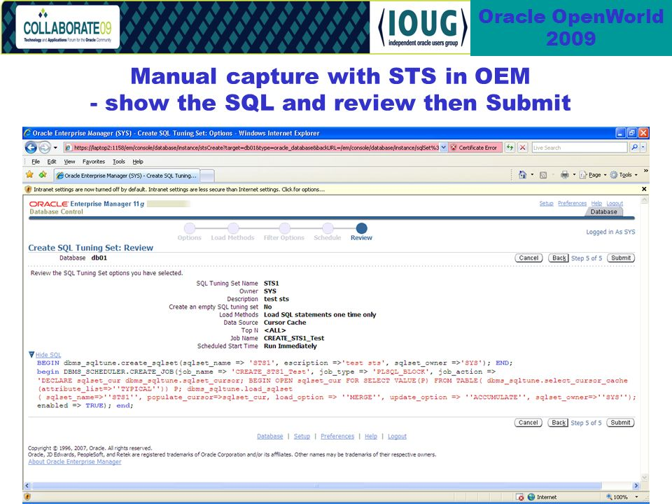 53 Oracle OpenWorld 2009 Manual capture with STS in OEM - show the SQL and review then Submit
