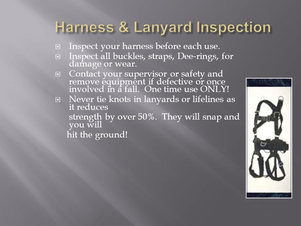 Inspect your harness before each use.Inspect all buckles, straps, Dee-rings, for damage or wear.