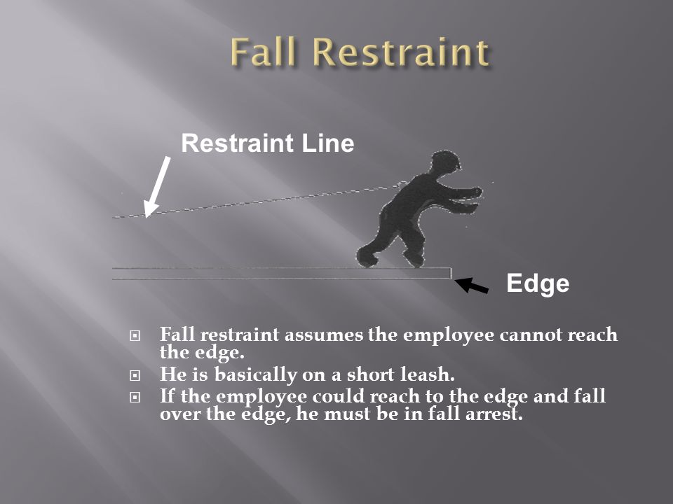 Fall restraint assumes the employee cannot reach the edge.