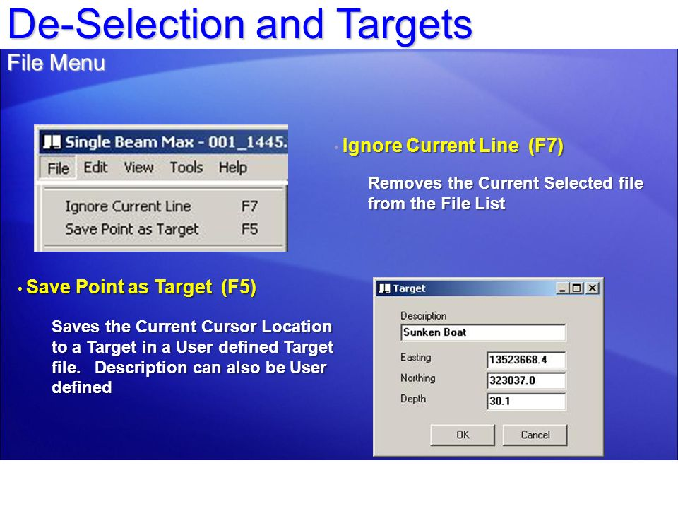 De-Selection and Targets File Menu Ignore Current Line (F7) Removes the Current Selected file from the File List Save Point as Target (F5) Save Point
