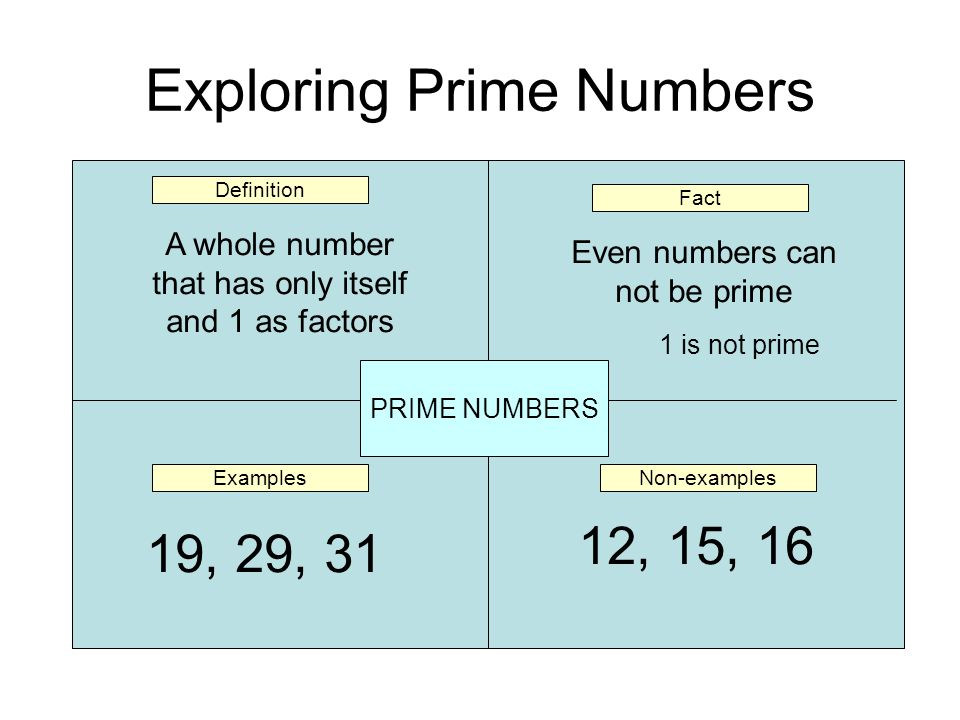 Exploring Prime Numbers PRIME NUMBERS Definition Non-examplesExamples Fact A whole number that has only itself and 1 as factors 19, 29, 31 12, 15, 16