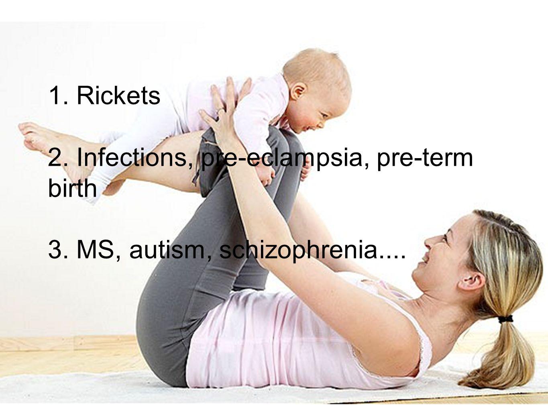 1. Rickets 2. Infections, pre-eclampsia, pre-term birth 3. MS, autism, schizophrenia....