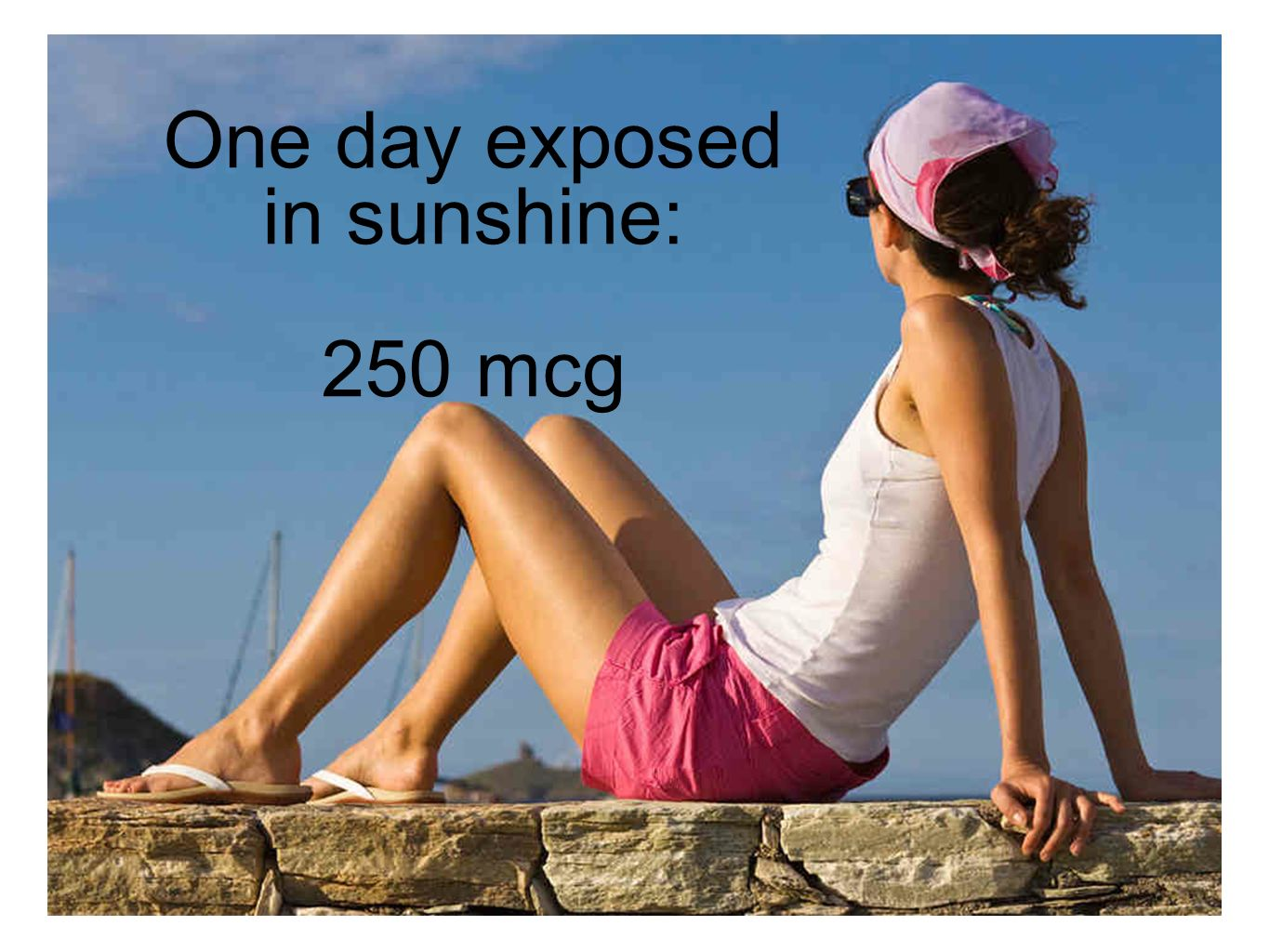 One day exposed in sunshine: 250 mcg