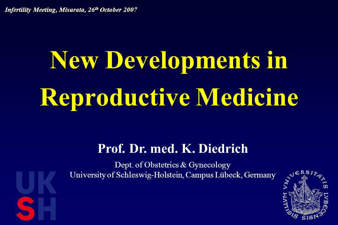 Future of Reproductive Medicine new embryo protection law (european?) improvement of pregnancy rate by the elective single embryo transfer (morphological criteria) avoid multiple pregnancies vitrification in vitro maturation aim of infertility treatment: simple, safe, comfortable, successful and cheap