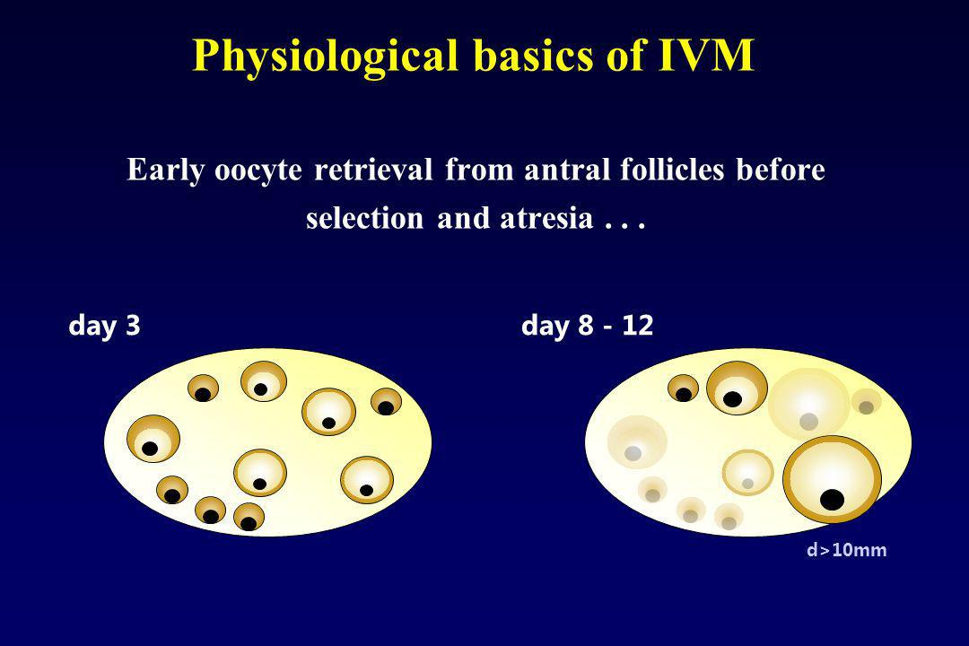 Early oocyte retrieval from antral follicles before selection and atresia... Physiological basics of IVM day 3day 8 - 12 d>10mm
