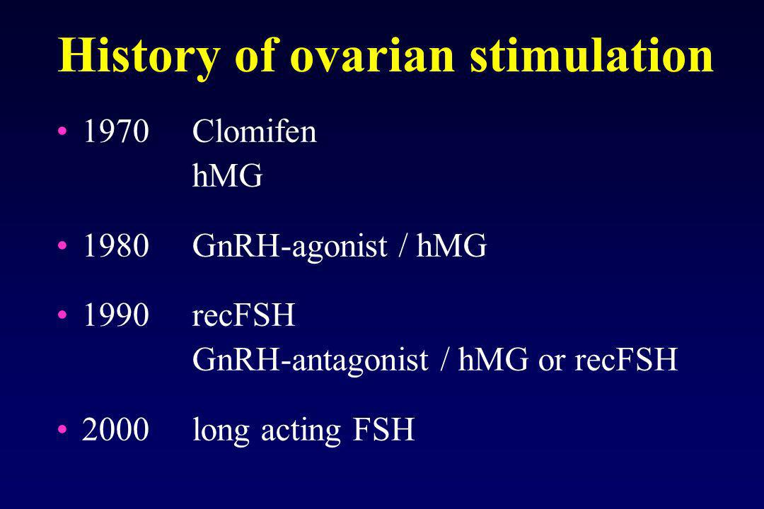 History of ovarian stimulation 1970Clomifen hMG 1980GnRH-agonist / hMG 1990recFSH GnRH-antagonist / hMG or recFSH 2000long acting FSH