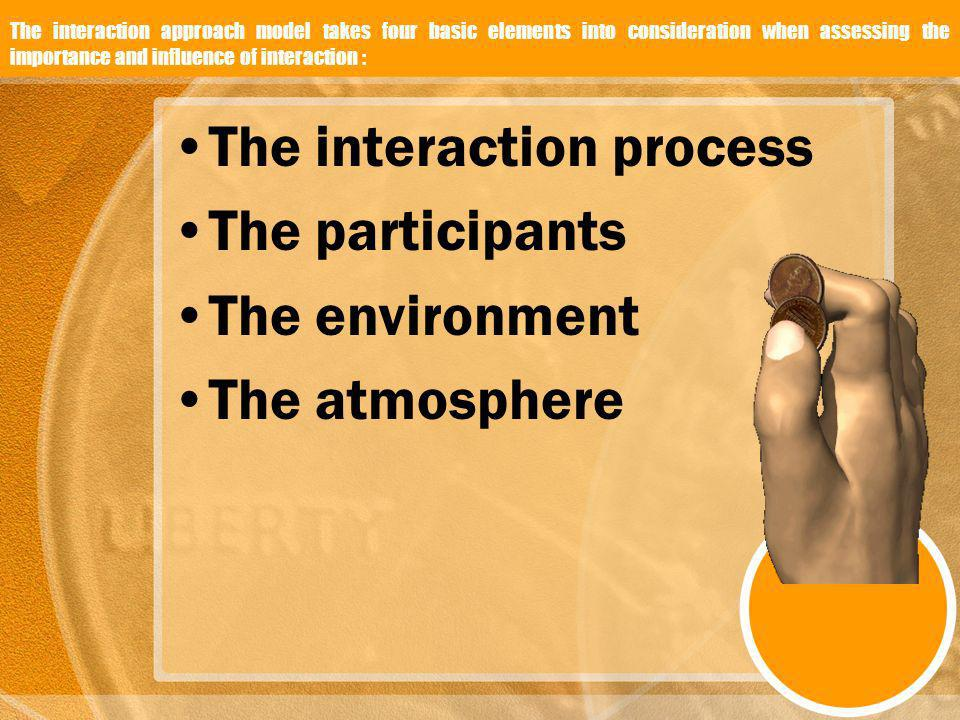The interaction approach model takes four basic elements into consideration when assessing the importance and influence of interaction : The interacti