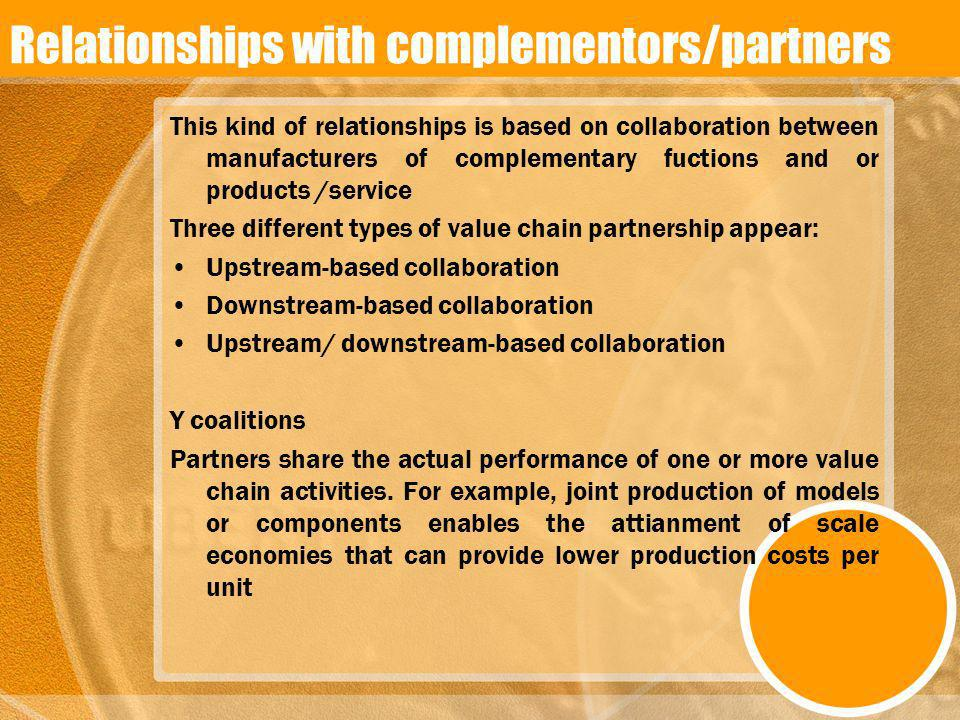 Relationships with complementors/partners This kind of relationships is based on collaboration between manufacturers of complementary fuctions and or