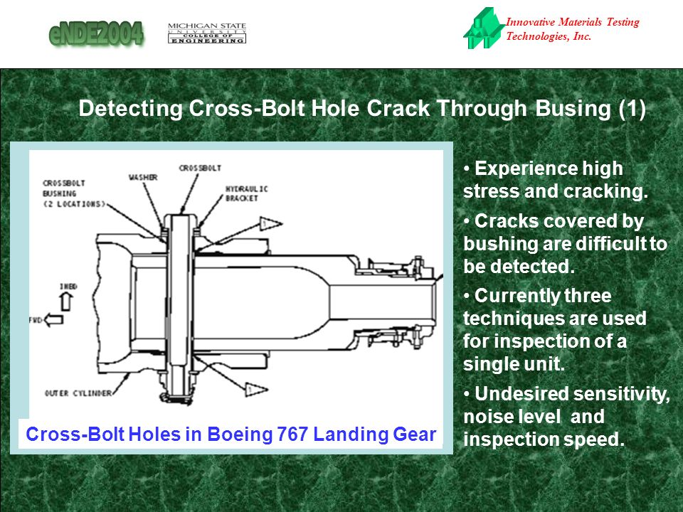 Innovative Materials Testing Technologies, Inc. Detecting Cross-Bolt Hole Crack Through Busing (1) Experience high stress and cracking. Cracks covered
