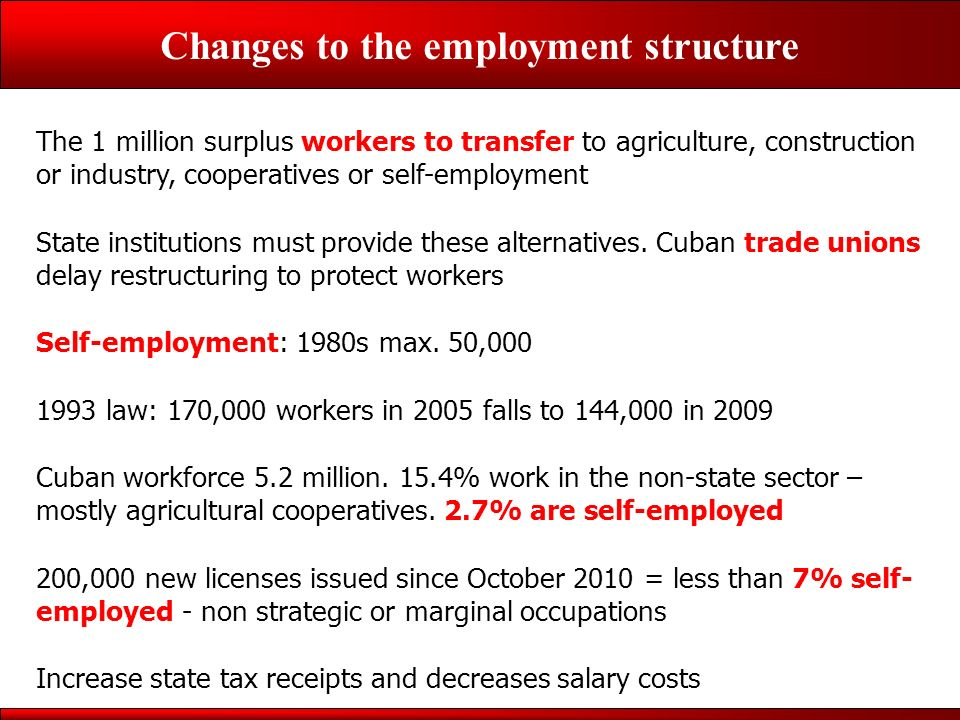 Changes to the employment structure The 1 million surplus workers to transfer to agriculture, construction or industry, cooperatives or self-employment State institutions must provide these alternatives.