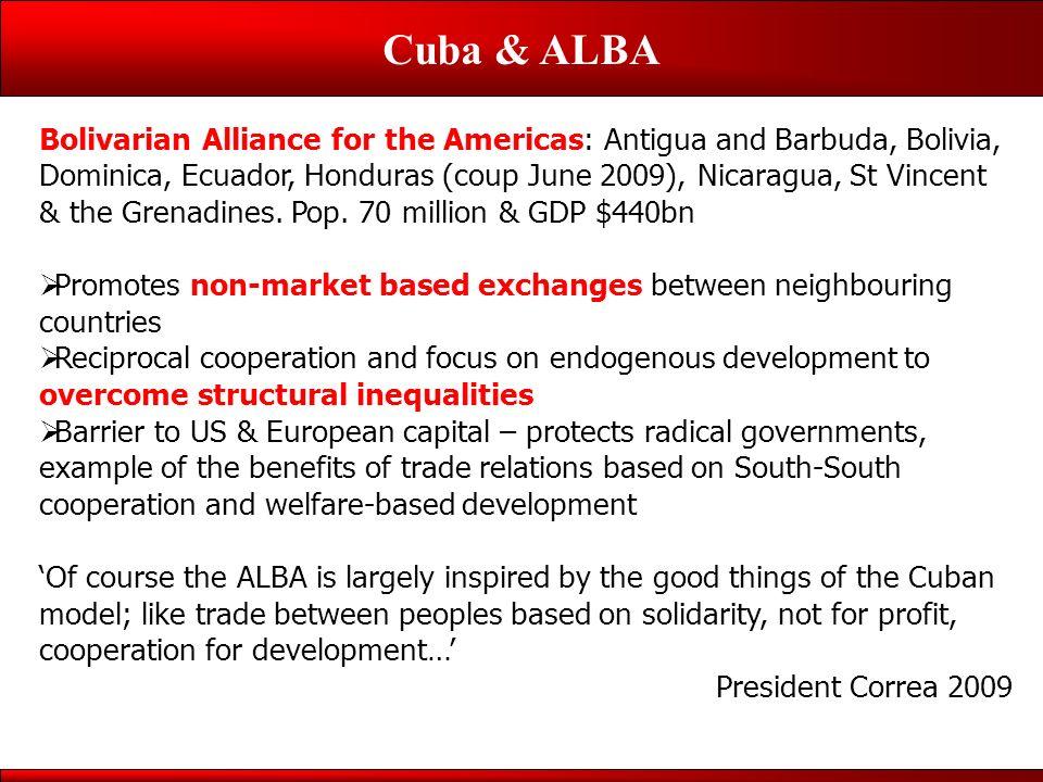 Cuba & ALBA Bolivarian Alliance for the Americas: Antigua and Barbuda, Bolivia, Dominica, Ecuador, Honduras (coup June 2009), Nicaragua, St Vincent & the Grenadines.