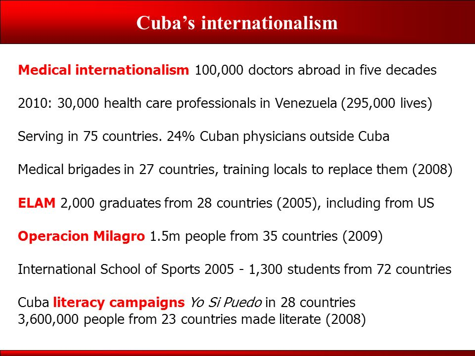 Cubas internationalism Medical internationalism 100,000 doctors abroad in five decades 2010: 30,000 health care professionals in Venezuela (295,000 lives) Serving in 75 countries.