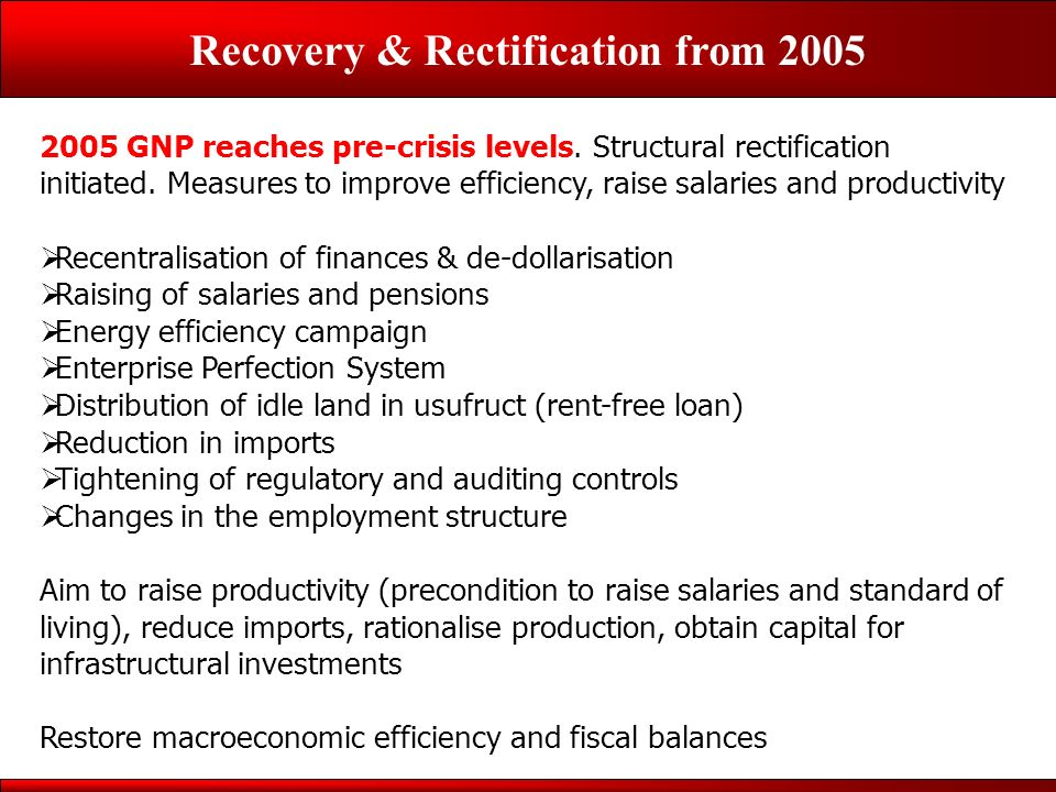 Recovery & Rectification from 2005 2005 GNP reaches pre-crisis levels.