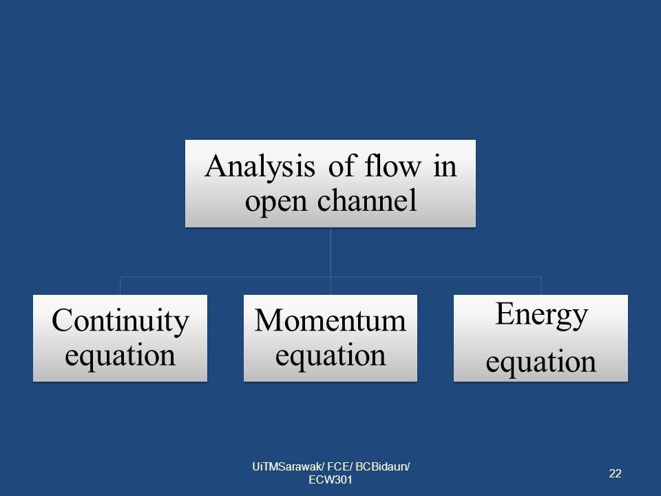 UiTMSarawak/ FCE/ BCBidaun/ ECW301 22 Analysis of flow in open channel Continuity equation Momentum equation Energy equation