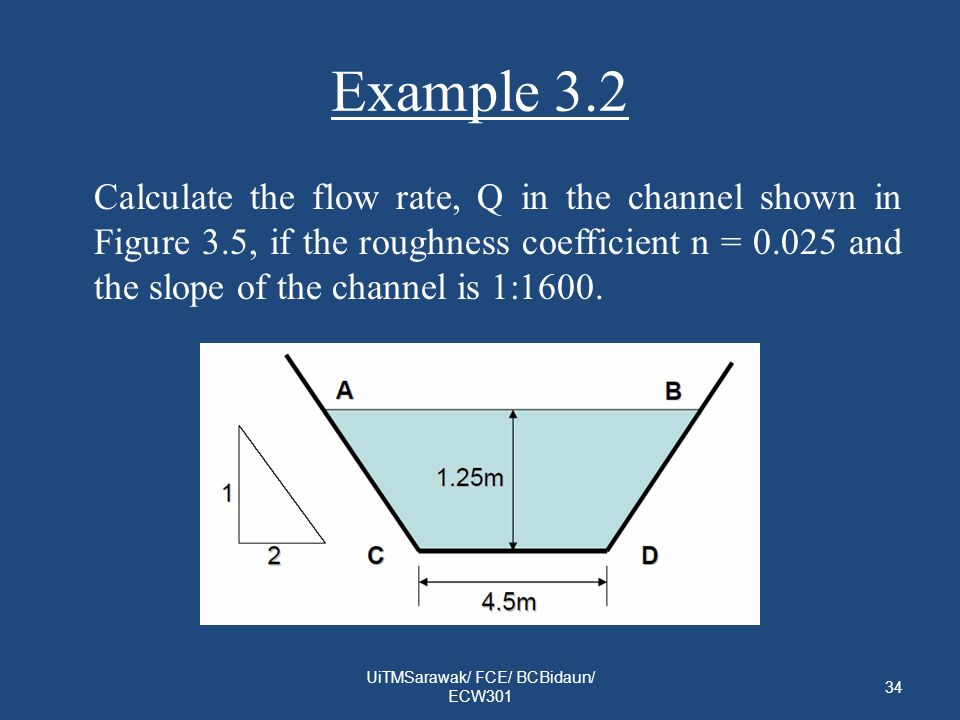 Example 3.2 Calculate the flow rate, Q in the channel shown in Figure 3.5, if the roughness coefficient n = 0.025 and the slope of the channel is 1:16