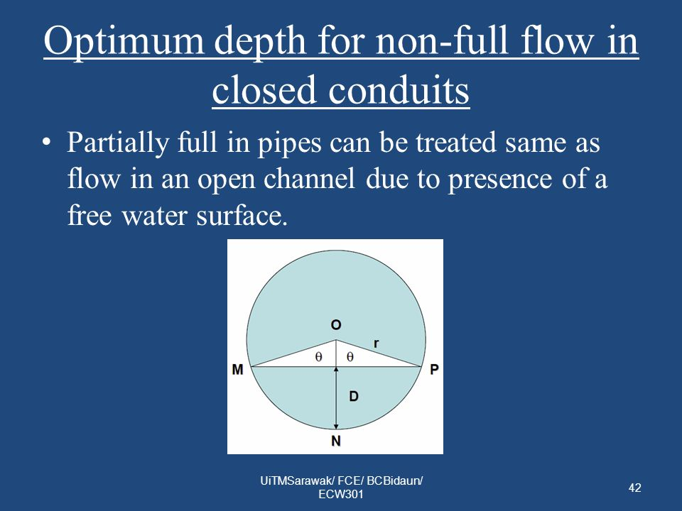 Optimum depth for non-full flow in closed conduits Partially full in pipes can be treated same as flow in an open channel due to presence of a free water surface.