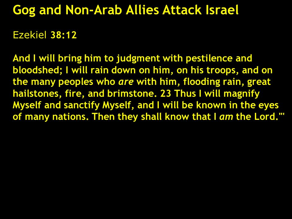 Gog and Non-Arab Allies Attack Israel Ezekiel 38:12 And I will bring him to judgment with pestilence and bloodshed; I will rain down on him, on his tr