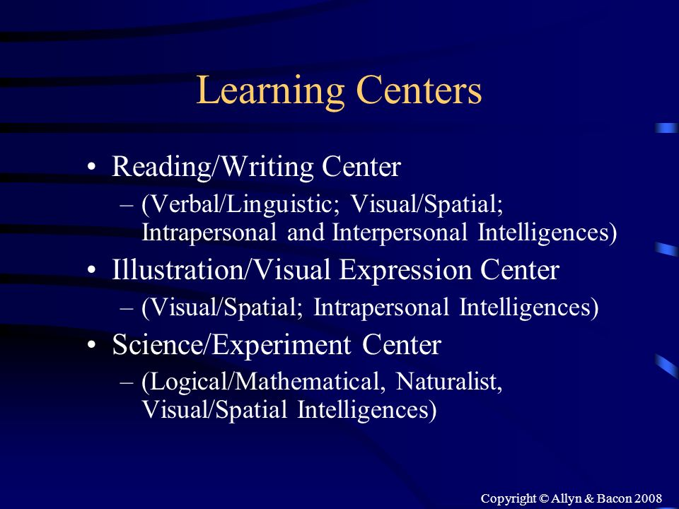 Copyright © Allyn & Bacon 2008 Learning Centers Reading/Writing Center –(Verbal/Linguistic; Visual/Spatial; Intrapersonal and Interpersonal Intelligen