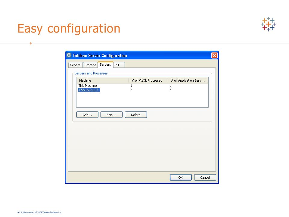All rights reserved. © 2009 Tableau Software Inc. Easy configuration