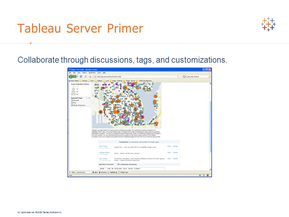 All rights reserved. © 2009 Tableau Software Inc. Tableau Server Primer Collaborate through discussions, tags, and customizations.