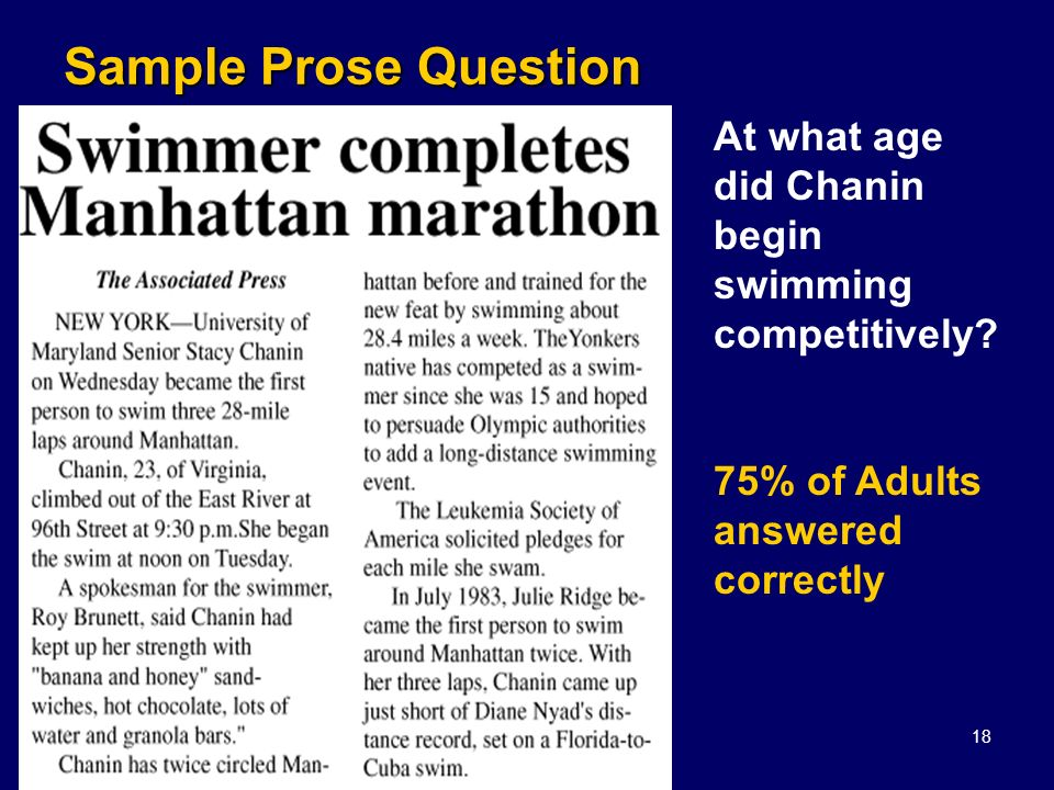 Kuzmich, 200818 Sample Prose Question At what age did Chanin begin swimming competitively? 75% of Adults answered correctly