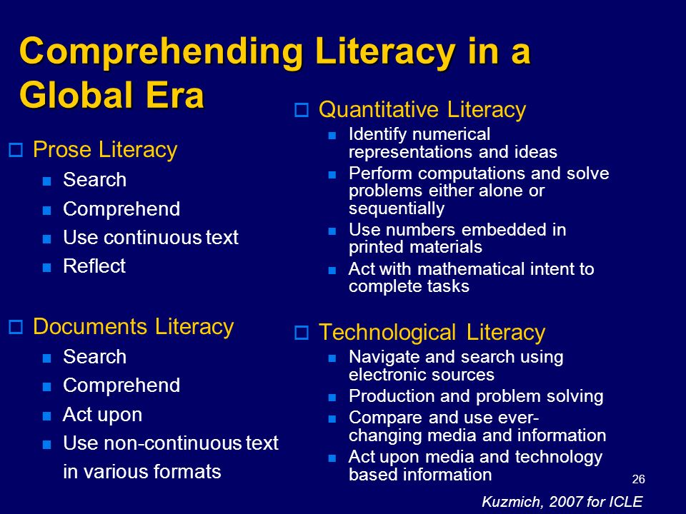 Kuzmich, 200826 Comprehending Literacy in a Global Era Prose Literacy Search Comprehend Use continuous text Reflect Documents Literacy Search Comprehe