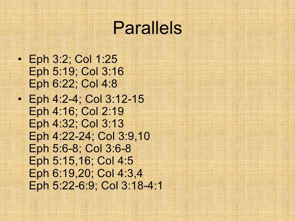 Parallels Eph 3:2; Col 1:25 Eph 5:19; Col 3:16 Eph 6:22; Col 4:8 Eph 4:2-4; Col 3:12-15 Eph 4:16; Col 2:19 Eph 4:32; Col 3:13 Eph 4:22-24; Col 3:9,10 Eph 5:6-8; Col 3:6-8 Eph 5:15,16; Col 4:5 Eph 6:19,20; Col 4:3,4 Eph 5:22-6:9; Col 3:18-4:1