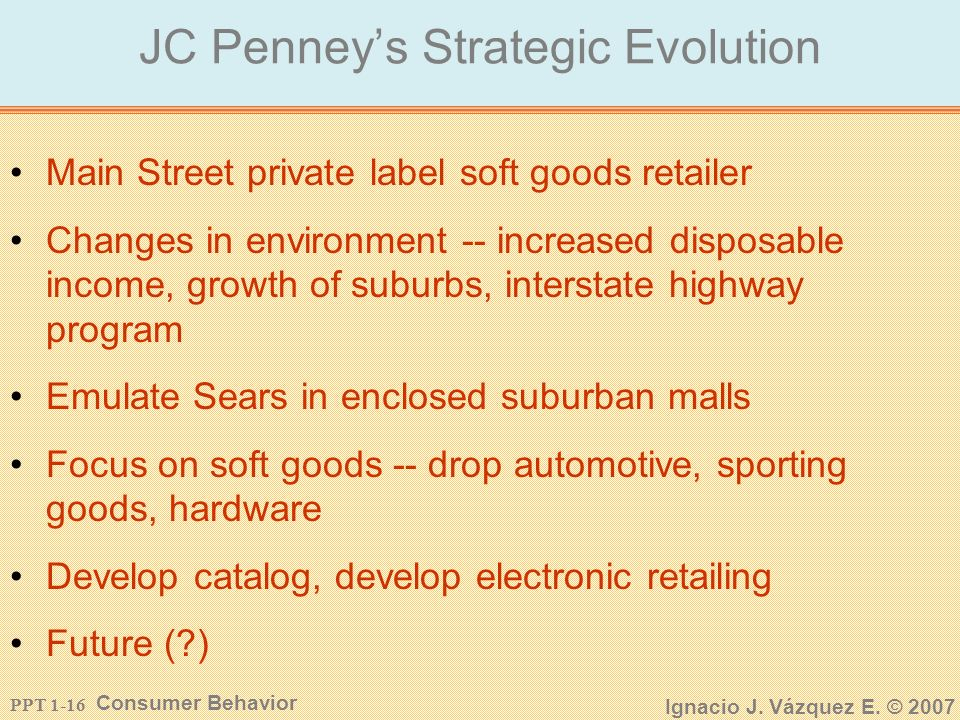 PPT 1-15 Consumer Behavior Ignacio J. Vázquez E. © 2007 Retail Environment Differs Across the Globe USJapan Concentration High Medium Store Size Big S