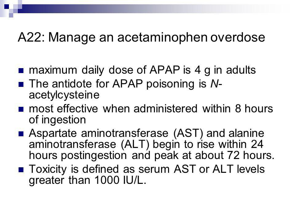 A22: Manage an acetaminophen overdose maximum daily dose of APAP is 4 g in adults The antidote for APAP poisoning is N- acetylcysteine most effective