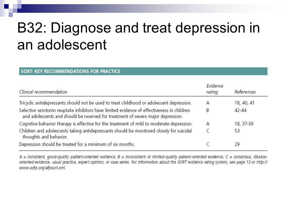 B32: Diagnose and treat depression in an adolescent