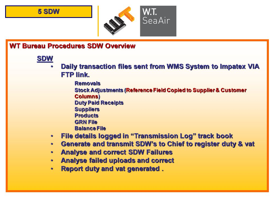 5 SDW WT Bureau Procedures SDW Overview SDW Daily transaction files sent from WMS System to Impatex VIA FTP link.Daily transaction files sent from WMS
