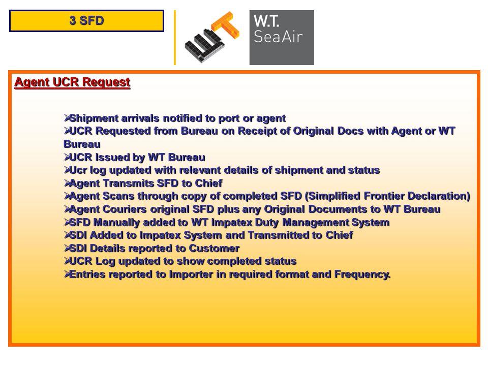3 SFD Agent UCR Request Shipment arrivals notified to port or agent Shipment arrivals notified to port or agent UCR Requested from Bureau on Receipt o