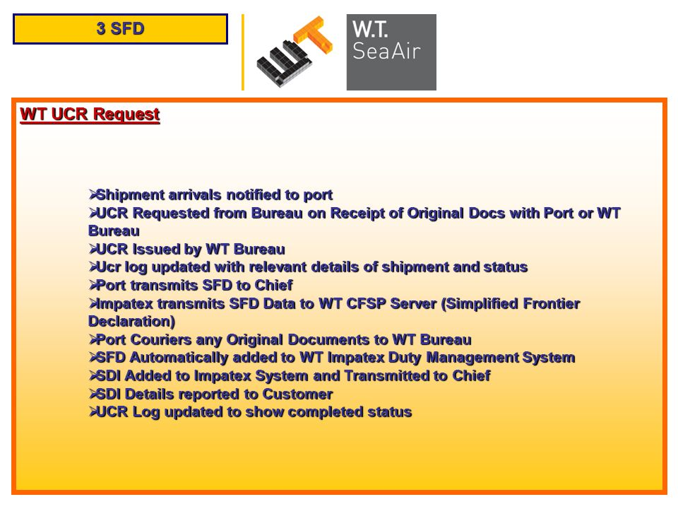 3 SFD WT UCR Request Shipment arrivals notified to port Shipment arrivals notified to port UCR Requested from Bureau on Receipt of Original Docs with
