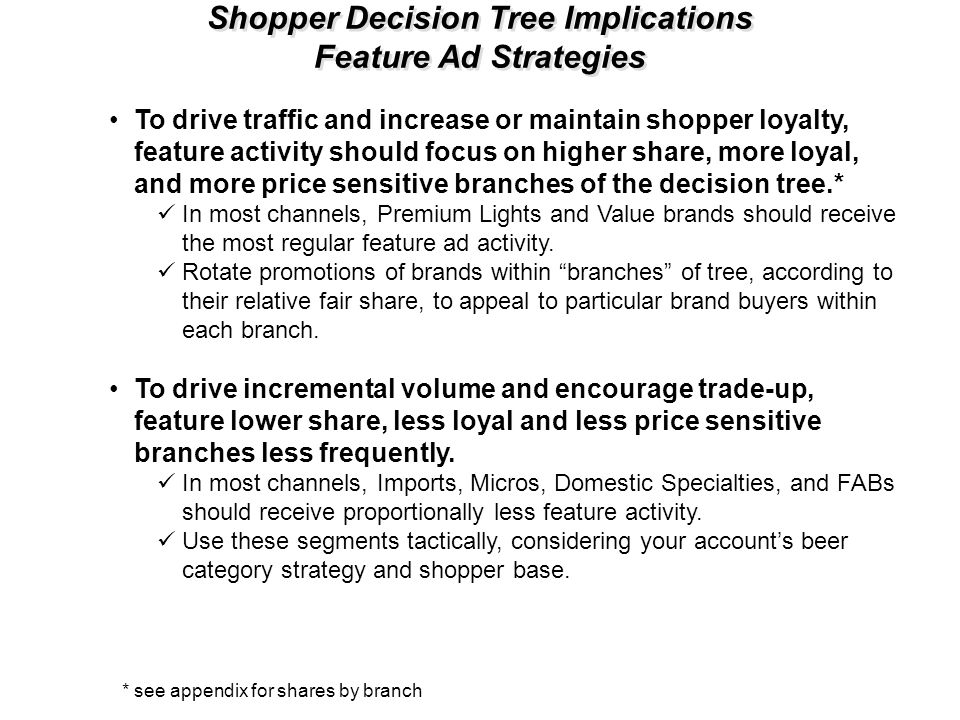 Shopper Decision Tree Implications Feature Ad Strategies To drive traffic and increase or maintain shopper loyalty, feature activity should focus on h