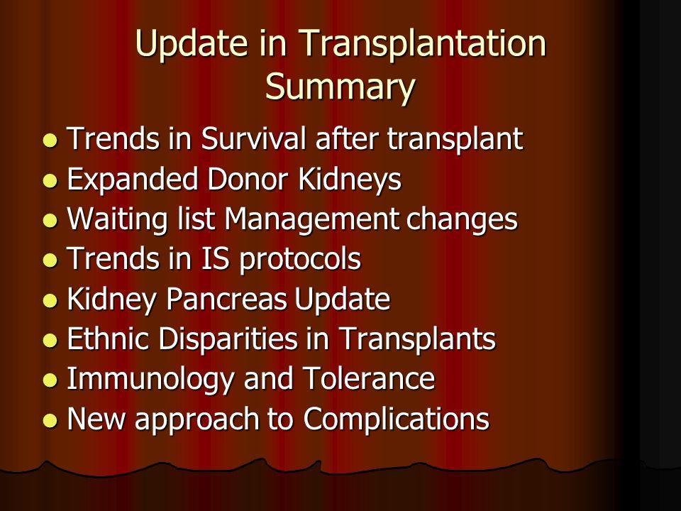 Update in Transplantation Summary Trends in Survival after transplant Trends in Survival after transplant Expanded Donor Kidneys Expanded Donor Kidney
