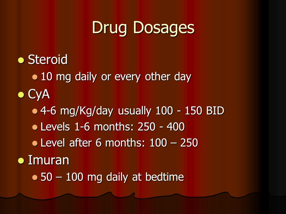 Drug Dosages Steroid Steroid 10 mg daily or every other day 10 mg daily or every other day CyA CyA 4-6 mg/Kg/day usually 100 - 150 BID 4-6 mg/Kg/day u