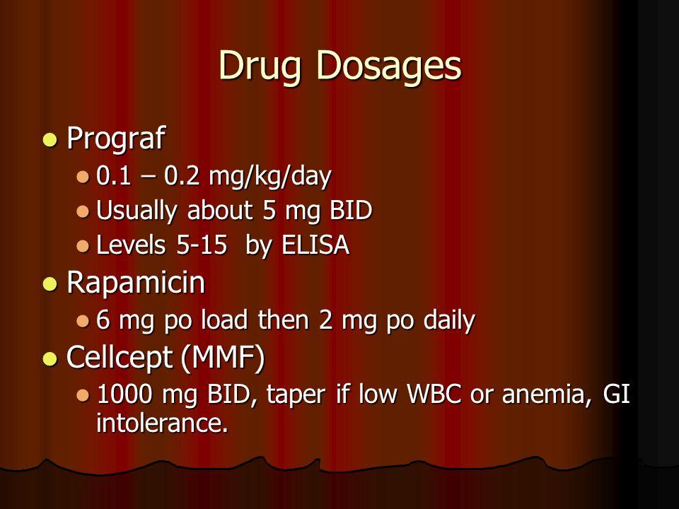 Drug Dosages Prograf Prograf 0.1 – 0.2 mg/kg/day 0.1 – 0.2 mg/kg/day Usually about 5 mg BID Usually about 5 mg BID Levels 5-15 by ELISA Levels 5-15 by