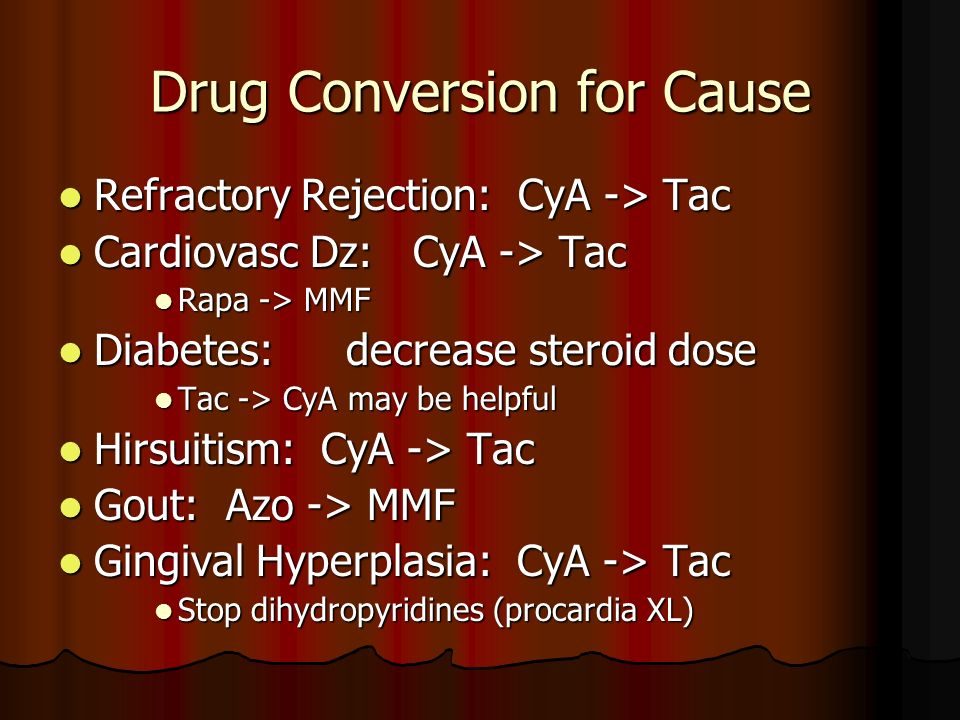Drug Conversion for Cause Refractory Rejection: CyA -> Tac Refractory Rejection: CyA -> Tac Cardiovasc Dz: CyA -> Tac Cardiovasc Dz: CyA -> Tac Rapa -