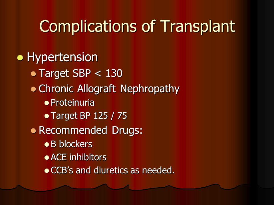 Complications of Transplant Hypertension Hypertension Target SBP < 130 Target SBP < 130 Chronic Allograft Nephropathy Chronic Allograft Nephropathy Pr