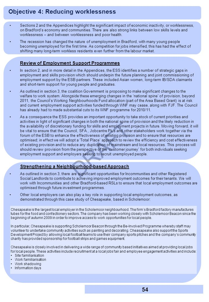DRAFT Sections 2 and the Appendices highlight the significant impact of economic inactivity, or worklessness, on Bradfords economy and communities. Th