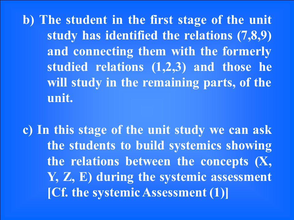 b) The student in the first stage of the unit study has identified the relations (7,8,9) and connecting them with the formerly studied relations (1,2,3) and those he will study in the remaining parts, of the unit.