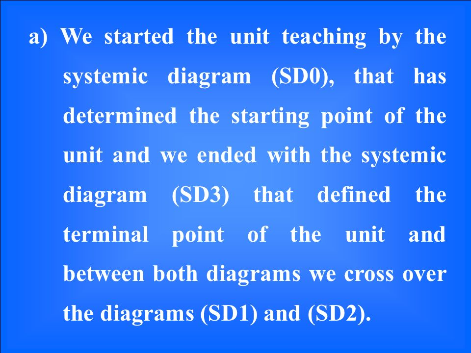 a) We started the unit teaching by the systemic diagram (SD0), that has determined the starting point of the unit and we ended with the systemic diagram (SD3) that defined the terminal point of the unit and between both diagrams we cross over the diagrams (SD1) and (SD2).